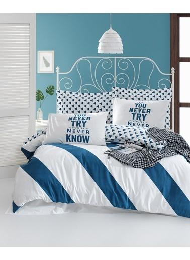 EnLora Home %100 Doğal Pamuk Nevresim Takımı Çift Kişilik Erona Mavi Mavi